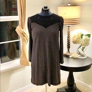 LOFT Long Sleeve Lace Accent Dress NWT Size M
